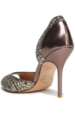 LUCY CHOI London Glittered metallic leather pumps