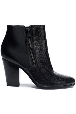 MICHAEL MICHAEL KORS Snake-effect and smooth leather ankle boots
