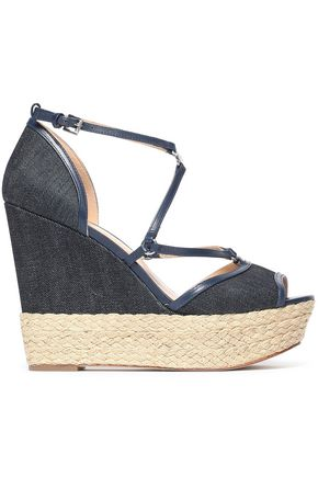 MICHAEL MICHAEL KORS Leather-trimmed denim espadrille wedge sandals