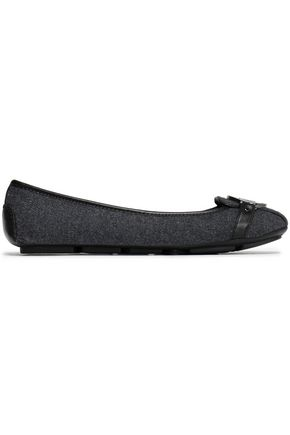 MICHAEL MICHAEL KORS Leather-trimmed appliquéd felt ballet flats
