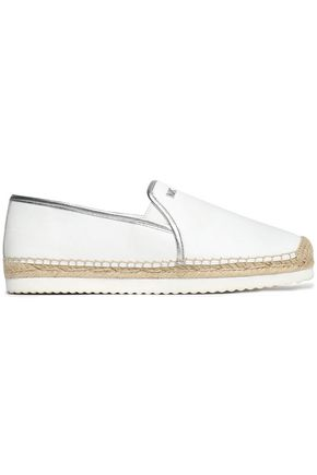 MICHAEL MICHAEL KORS Metallic-trimmed leather espadrilles