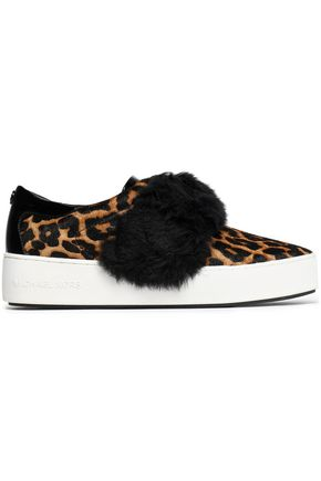MICHAEL MICHAEL KORS Faux fur-trimmed leopard-print calf hair slip-on sneakers