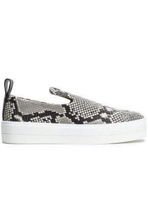 BY MALENE BIRGER Snake-effect leather slip-on sneakers