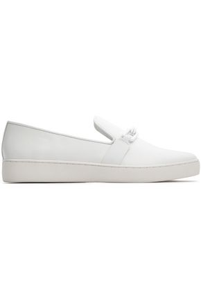 MICHAEL KORS COLLECTION Chain-trimmed leather slip-on sneakers