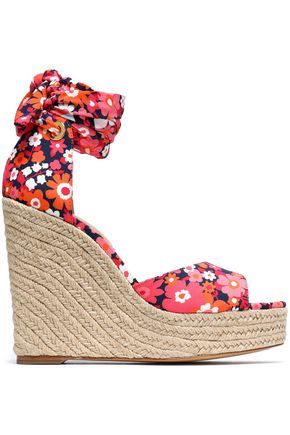 MICHAEL KORS COLLECTION Lace-up floral-print crepe wedge espadrille sandals