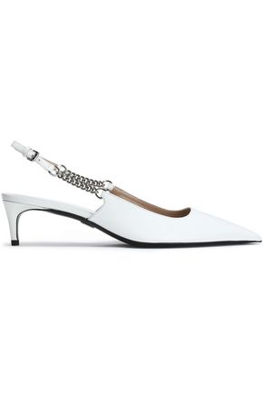MICHAEL KORS COLLECTION Chain-trimmed leather slingback pumps