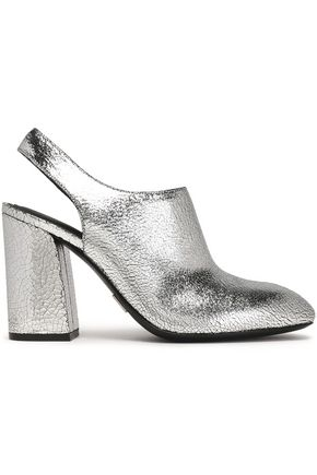MICHAEL KORS COLLECTION Metallic cracked-leather slingback pumps