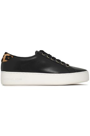 MICHAEL MICHAEL KORS Calf hair-trimmed leather sneakers