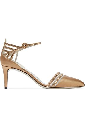 WOMAN CRYSTAL-EMBELLISHED SATIN AND PVC PUMPS BRONZE