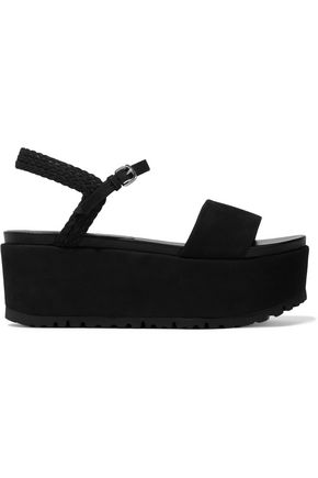 STUART WEITZMAN Your Way braid-trimmed suede platform sandals