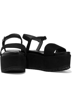 5815fefe702 ... STUART WEITZMAN Braided leather-trimmed denim and raffia platform  sandals ...