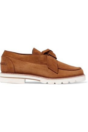 STUART WEITZMAN Boytie knotted suede loafers