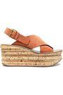 CHLOÉ Suede and cork platform slingback sandals