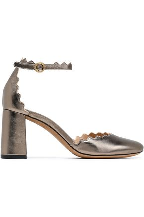 CHLOÉ Lauren metallic leather pumps