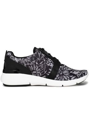 MICHAEL MICHAEL KORS Leather-trimmed printed canvas sneakers
