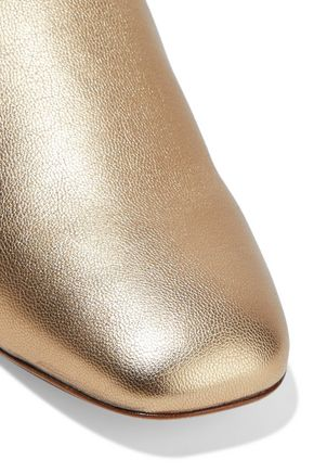 STUART WEITZMAN Metallic textured-leather slippers