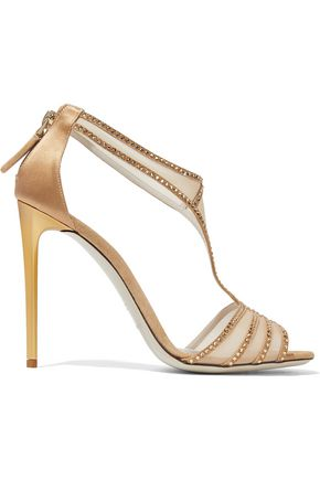 GIORGIO ARMANI Crystal-embellished satin and mesh sandals