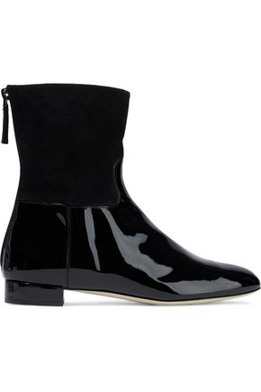 GIORGIO ARMANI Suede and patent-leather ankle boots