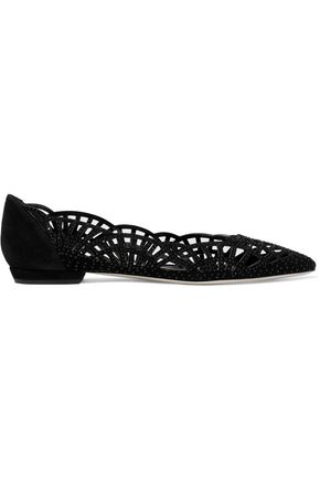 GIORGIO ARMANI Laser-cut crystal-embellished suede point-toe flats