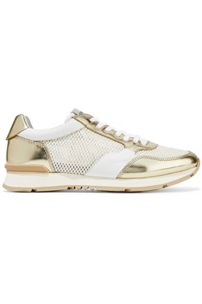 GIORGIO ARMANI Mirrored-leather and mesh sneakers
