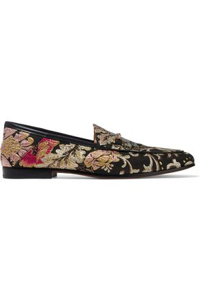 SAM EDELMAN Loraine leather-trimmed brocade loafers