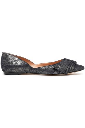 SIGERSON MORRISON Bow-embellished metallic brushed-leather point-toe flats