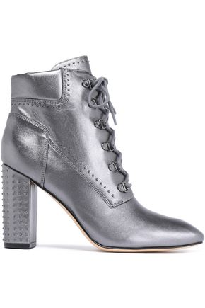 SIGERSON MORRISON Lace-up studded metallic leather ankle boots