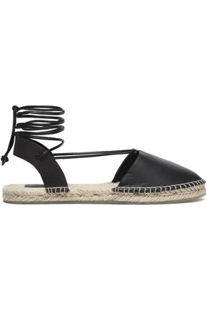 AUSTRALIA LUXE COLLECTIVE Lace-up leather and canvas espadrilles