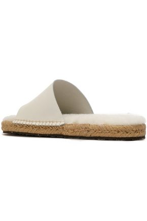 AUSTRALIA LUXE COLLECTIVE Shearling-trimmed leather espadrille slides