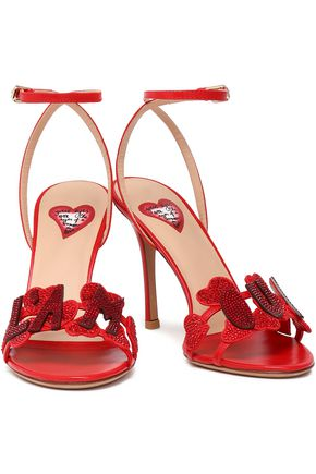 VALENTINO GARAVANI Crystal-embellished leather sandals