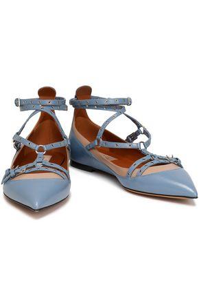 VALENTINO Eyelet-embellished two-tone leather point-toe flats