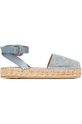 VALENTINO Embellished suede espadrille sandals