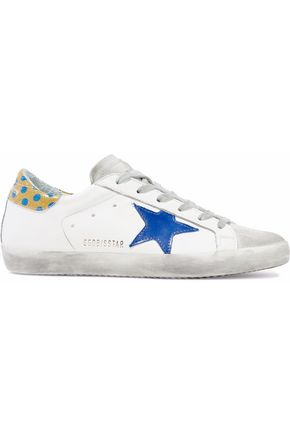 GOLDEN GOOSE DELUXE BRAND Superstar appliquéd distressed leather and suede sneakers
