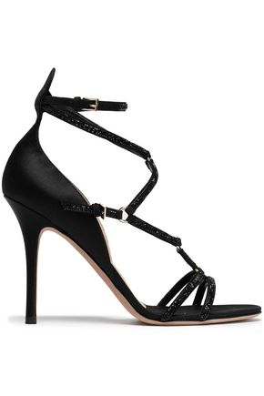 VALENTINO GARAVANI Crystal-embellished satin sandals