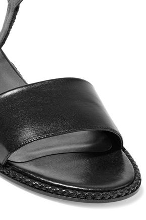 STUART WEITZMAN Braided and smooth leather sandals