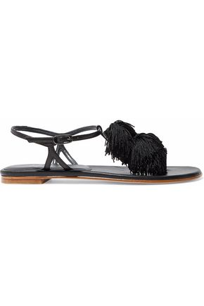 STUART WEITZMAN Pompom-embellished leather sandals