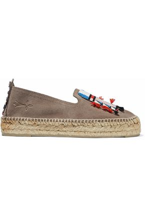 Manebi MANEBÍ WOMAN TASSELED BEAD-EMBELLISHED SUEDE ESPADRILLES BROWN