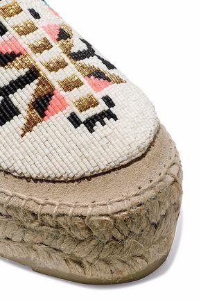 MANEBÍ Bead-embellished suede platform espadrilles