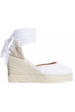 MANEBÍ Broderie anglaise wedge espadrilles