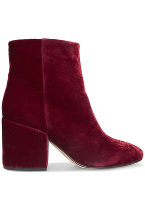 SAM EDELMAN Taye crushed-velvet ankle boots