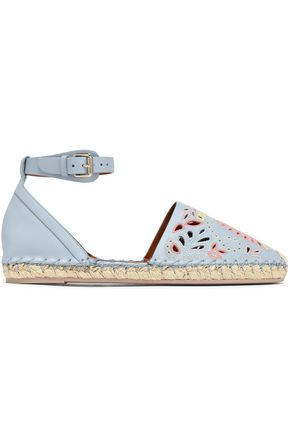 VALENTINO Broderie anglaise leather espadrilles