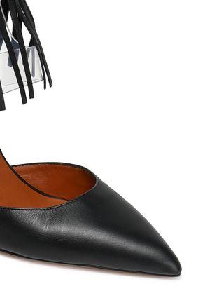 VALENTINO GARAVANI Fringed leather and PVC pumps