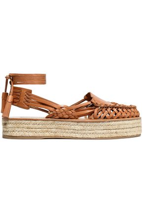 ZIMMERMANN Lace-up woven leather platform espadrilles