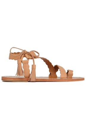 ZIMMERMANN Lace-up scalloped leather sandals