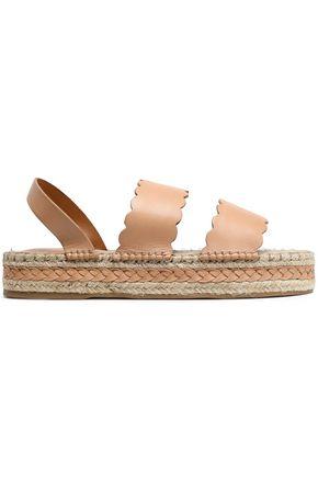ZIMMERMANN Scalloped leather espadrille platform sandals