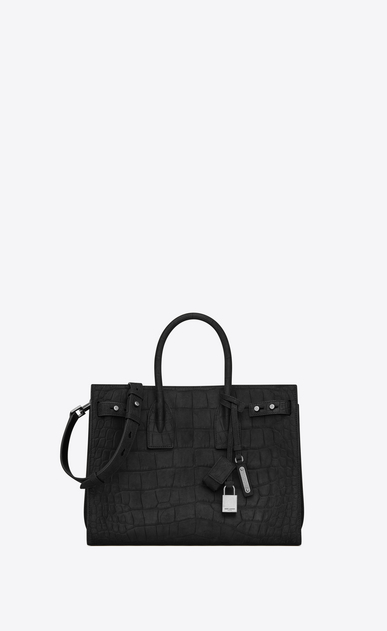 SAINT LAURENT Sac De Jour Supple Woman Small SAC DE JOUR SOUPLE in black crocodile embossed suede a_V4