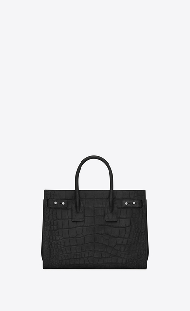 SAINT LAURENT Sac De Jour Supple Woman Small SAC DE JOUR SOUPLE in black crocodile embossed suede b_V4