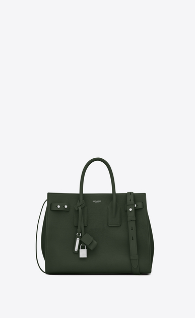 SAINT LAURENT Sac De Jour Supple Woman Small SAC DE JOUR SOUPLE in dark green grained leather a_V4