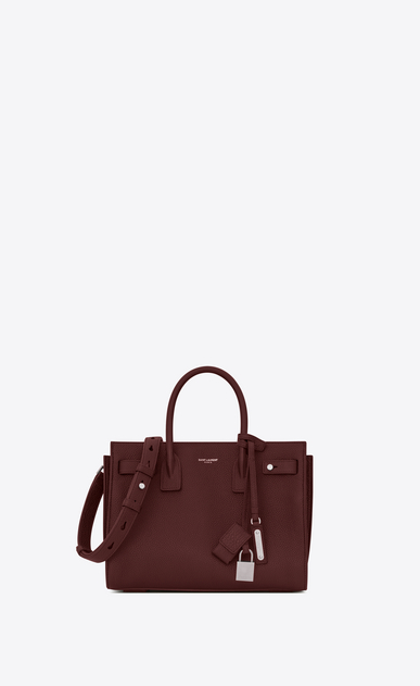 SAINT LAURENT Sac De Jour Supple Woman Baby SAC DE JOUR SOUPLE in dark red grained leather a_V4