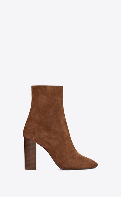 SAINT LAURENT Loulou Woman Joplin 95 ankle boot in caramel suede a_V4